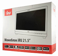 "Моноблок IRU Office K2102 21.5"" Full HD i3 4170 (3.7)/4Gb/500Gb 7.2k/HDG4400/DVDRW/CR/Free DOS/GbitEth/WiFi/BT/300W/Cam/белый 1920x1080"